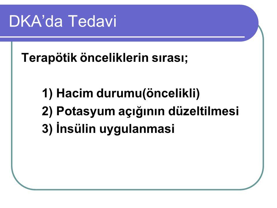 DKA'da Tedavi Terapötik önceliklerin sırası;
