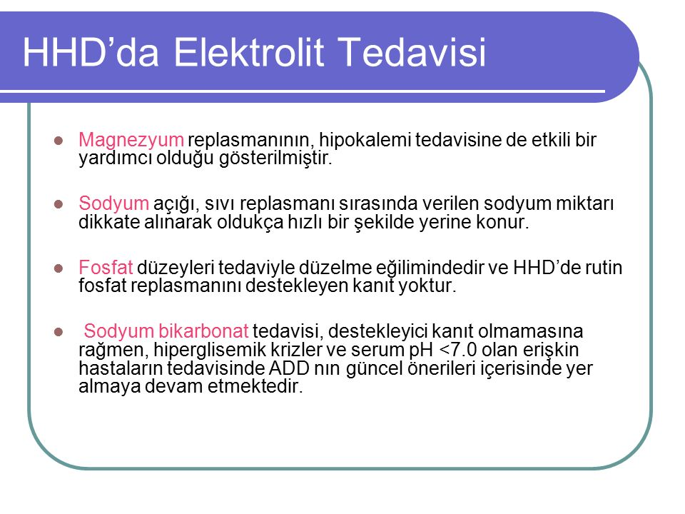 HHD'da Elektrolit Tedavisi