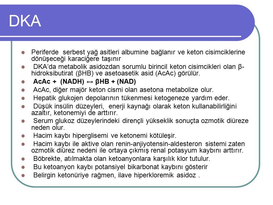 DKA Periferde serbest yağ asitleri albumine bağlanır ve keton cisimciklerine dönüşeceği karaciğere taşınır.