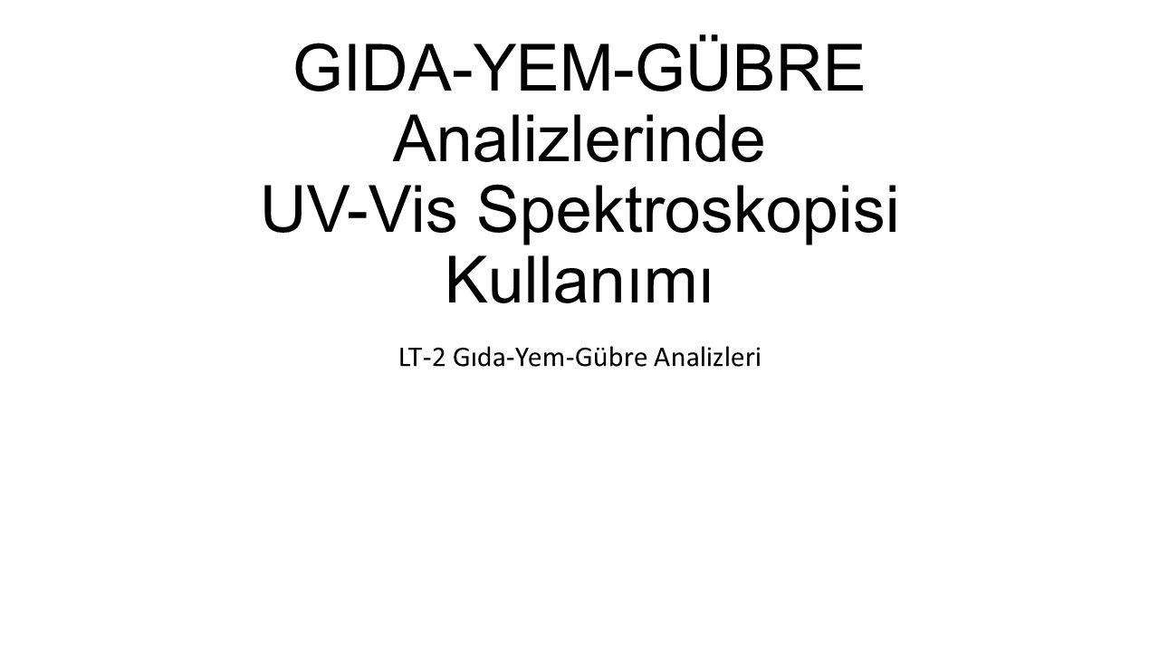 GIDA-YEM-GÜBRE Analizlerinde UV-Vis Spektroskopisi Kullanımı