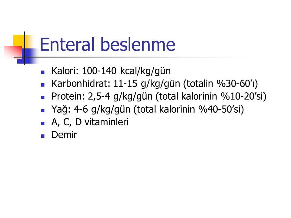 Enteral beslenme Kalori: 100-140 kcal/kg/gün