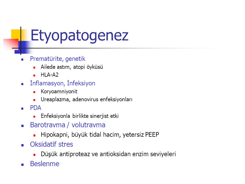 Etyopatogenez Barotravma / volutravma Oksidatif stres Beslenme
