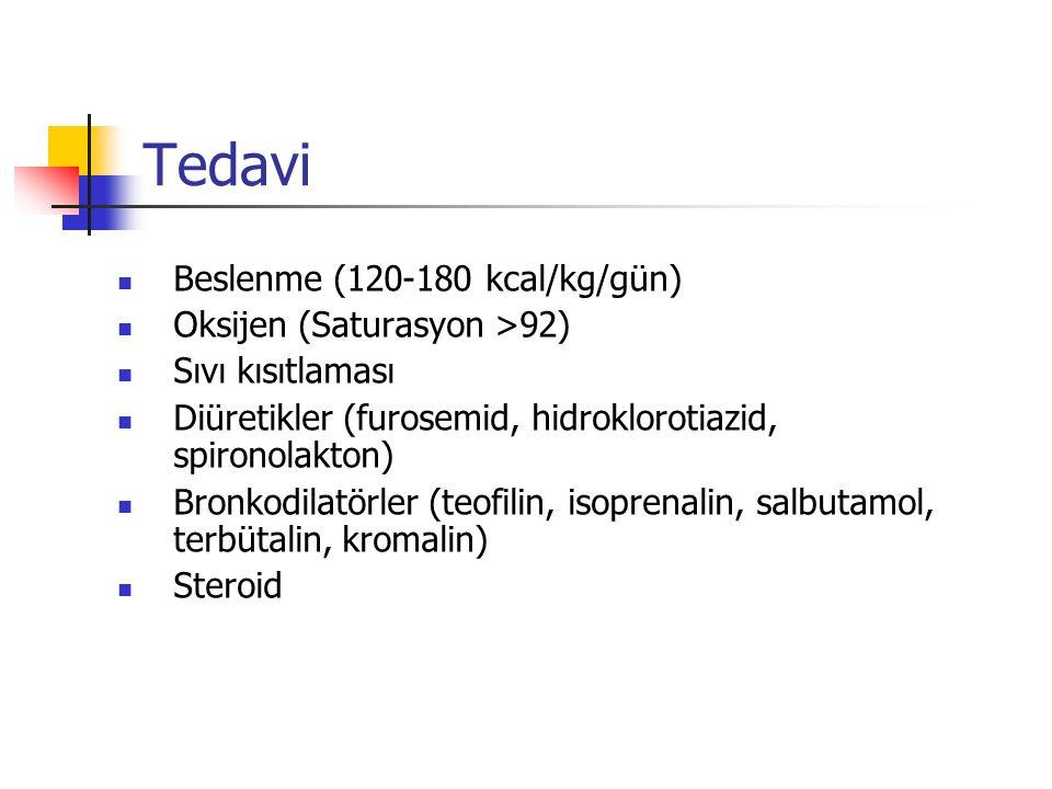 Tedavi Beslenme (120-180 kcal/kg/gün) Oksijen (Saturasyon >92)