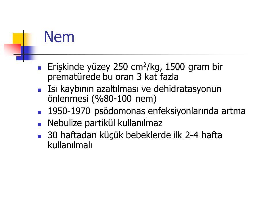 Nem Erişkinde yüzey 250 cm2/kg, 1500 gram bir prematürede bu oran 3 kat fazla. Isı kaybının azaltılması ve dehidratasyonun önlenmesi (%80-100 nem)