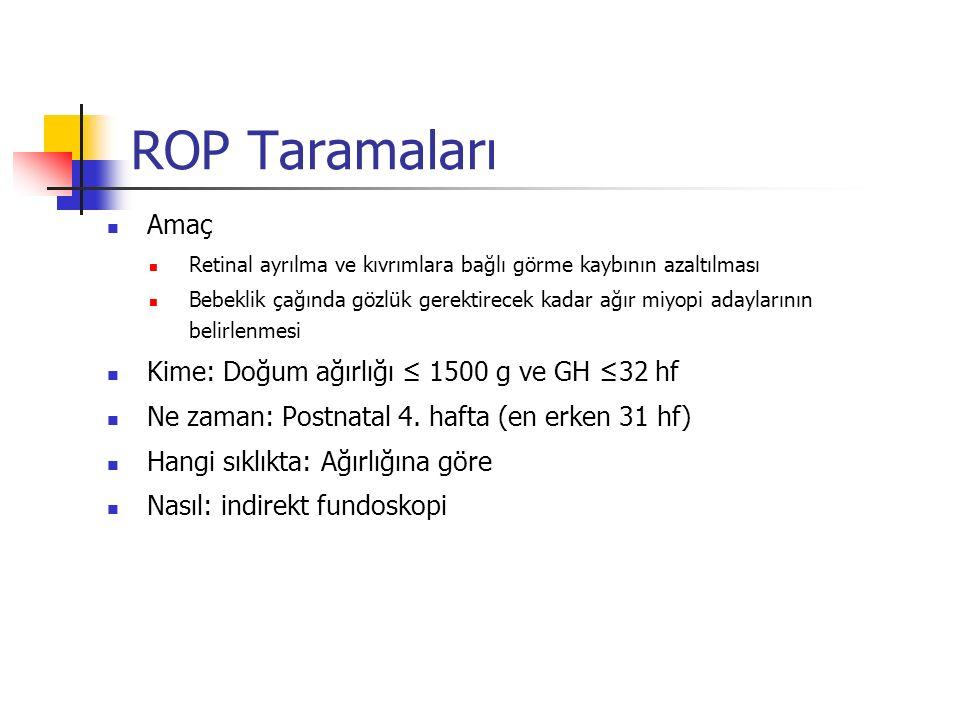 ROP Taramaları Amaç Kime: Doğum ağırlığı ≤ 1500 g ve GH ≤32 hf