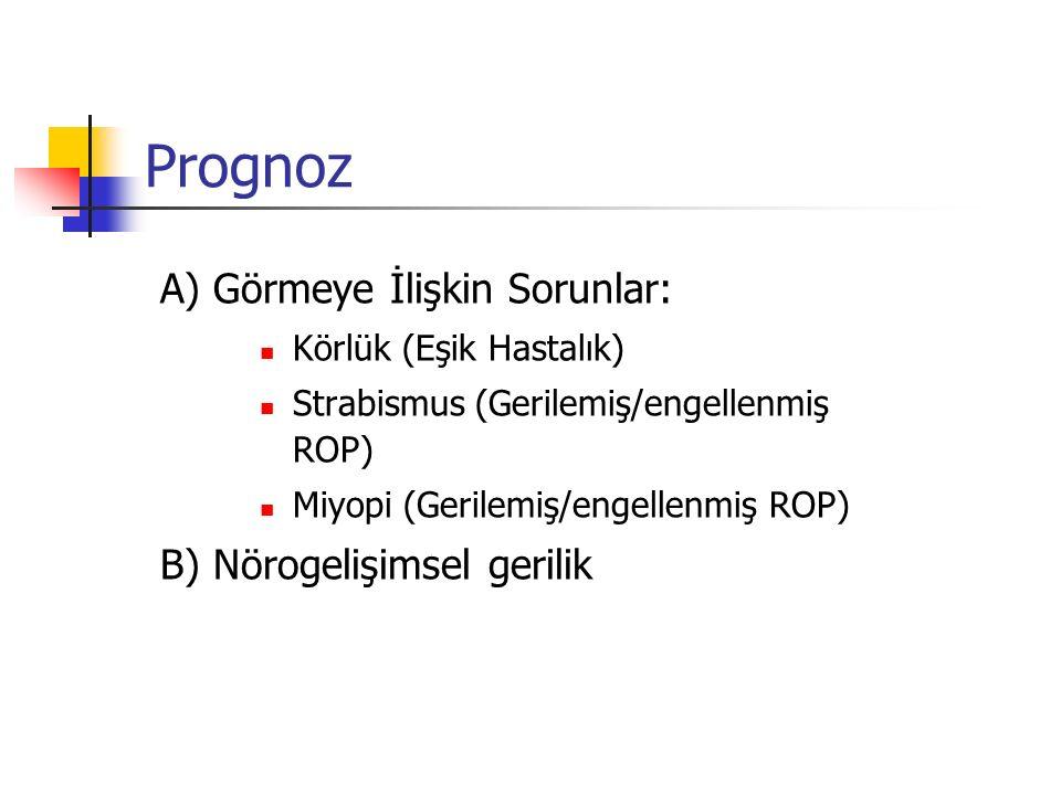 Prognoz A) Görmeye İlişkin Sorunlar: B) Nörogelişimsel gerilik