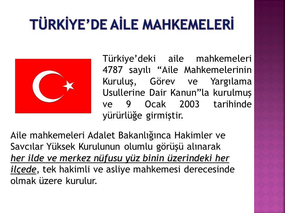 TÜRKİYE'DE AİLE MAHKEMELERİ