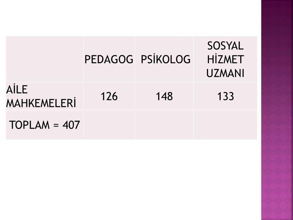 PEDAGOG PSİKOLOG SOSYAL HİZMET UZMANI AİLE MAHKEMELERİ 126 148 133 TOPLAM = 407