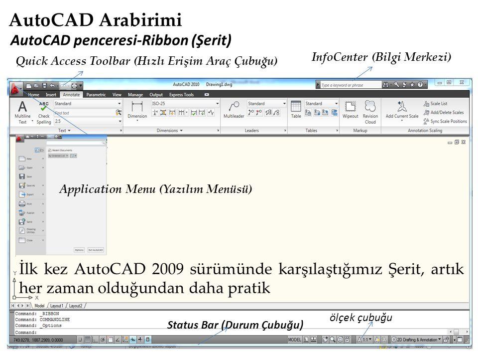 AutoCAD Arabirimi AutoCAD penceresi-Ribbon (Şerit)
