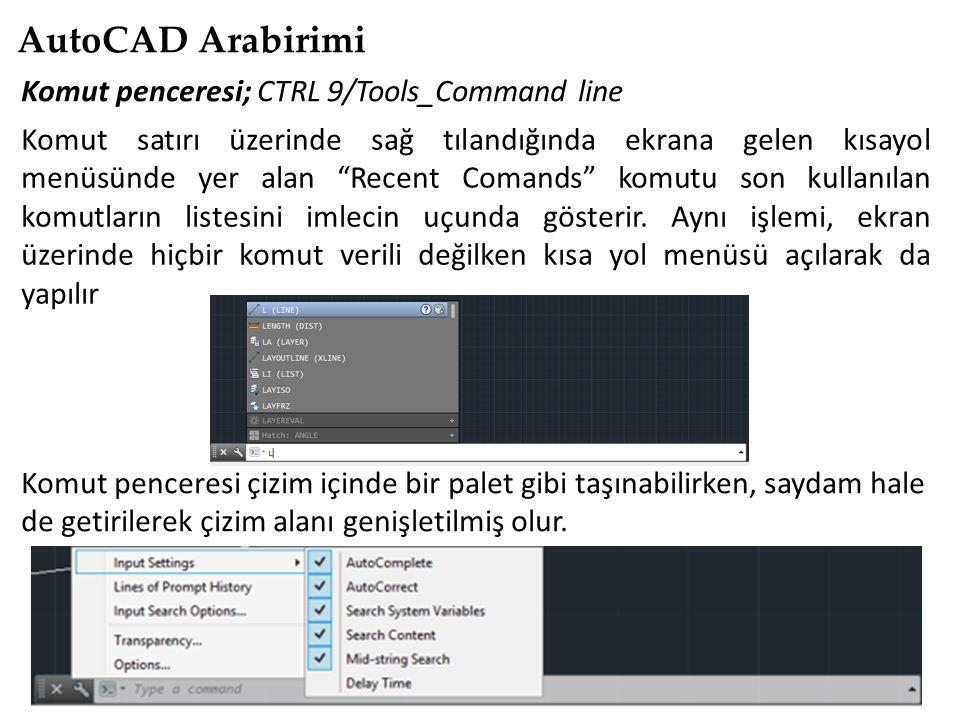 AutoCAD Arabirimi Komut penceresi; CTRL 9/Tools_Command line