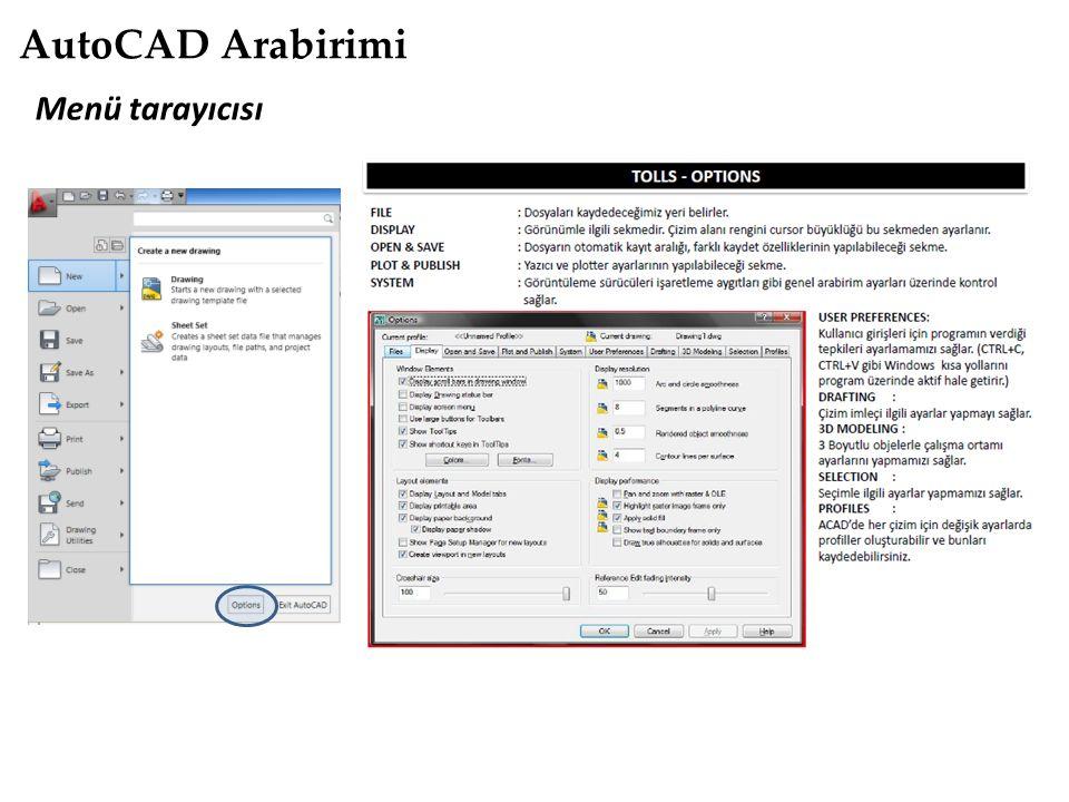 AutoCAD Arabirimi Menü tarayıcısı