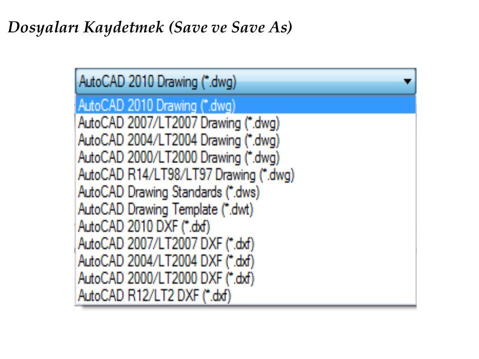 Dosyaları Kaydetmek (Save ve Save As)