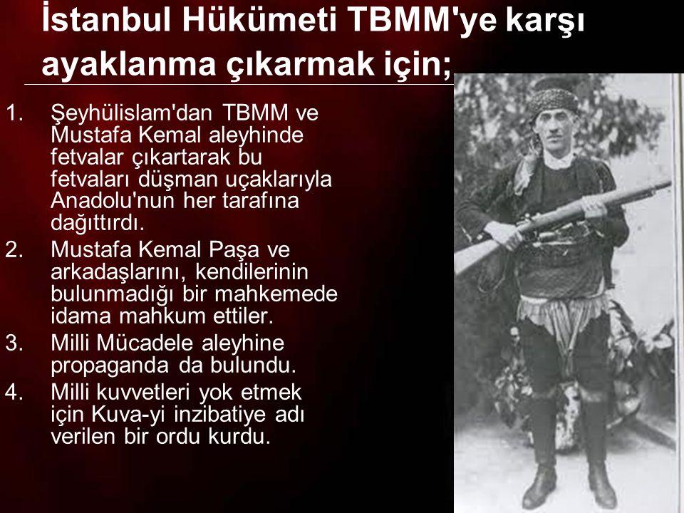 İstanbul Hükümeti TBMM ye karşı ayaklanma çıkarmak için;