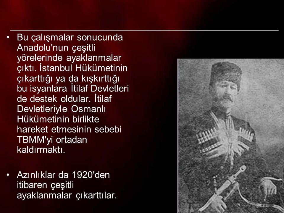 Bu çalışmalar sonucunda Anadolu nun çeşitli yörelerinde ayaklanmalar çıktı. İstanbul Hükümetinin çıkarttığı ya da kışkırttığı bu isyanlara İtilaf Devletleri de destek oldular. İtilaf Devletleriyle Osmanlı Hükümetinin birlikte hareket etmesinin sebebi TBMM yi ortadan kaldırmaktı.