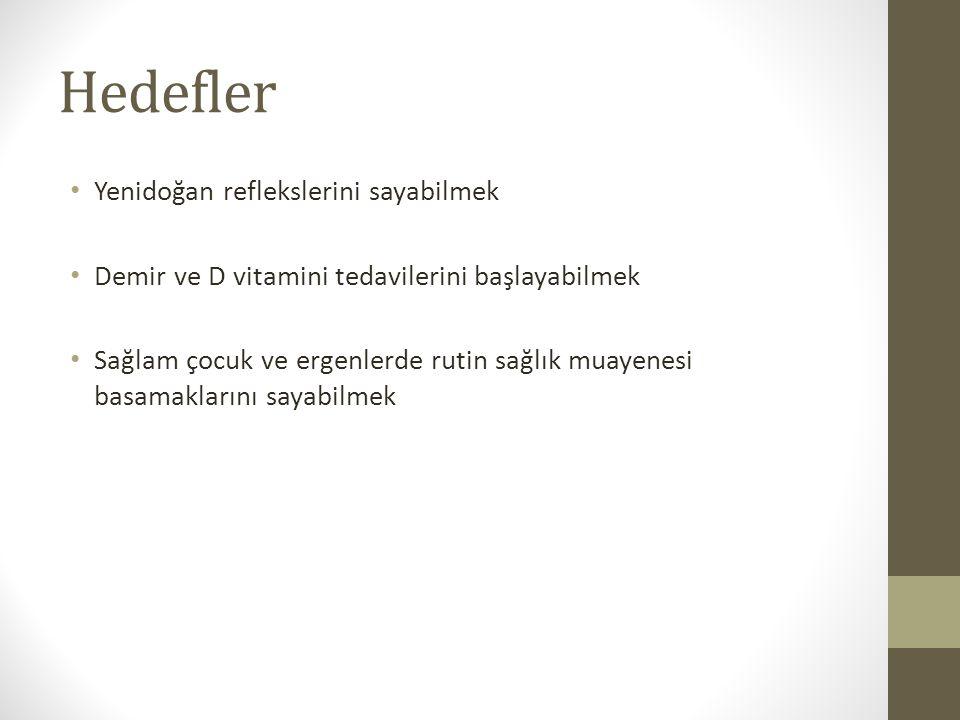 Hedefler Yenidoğan reflekslerini sayabilmek