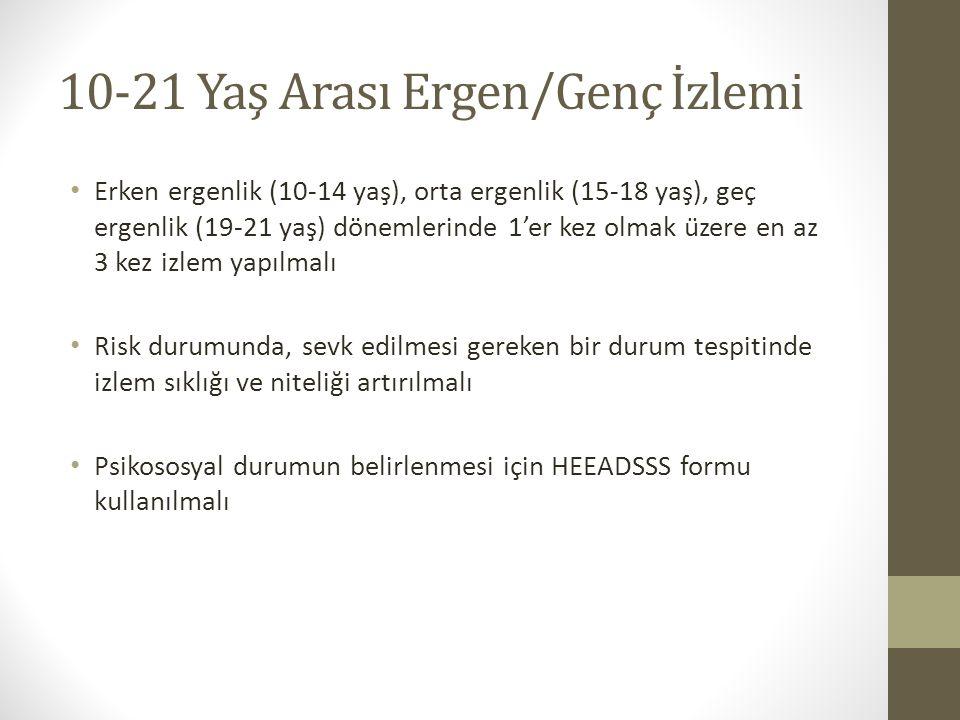 10-21 Yaş Arası Ergen/Genç İzlemi