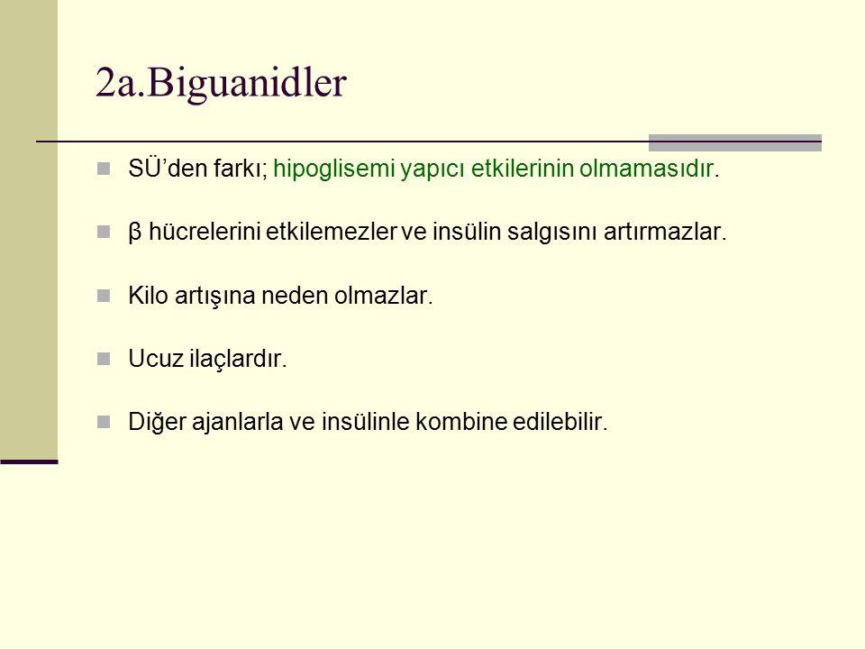 2a.Biguanidler SÜ'den farkı; hipoglisemi yapıcı etkilerinin olmamasıdır. β hücrelerini etkilemezler ve insülin salgısını artırmazlar.