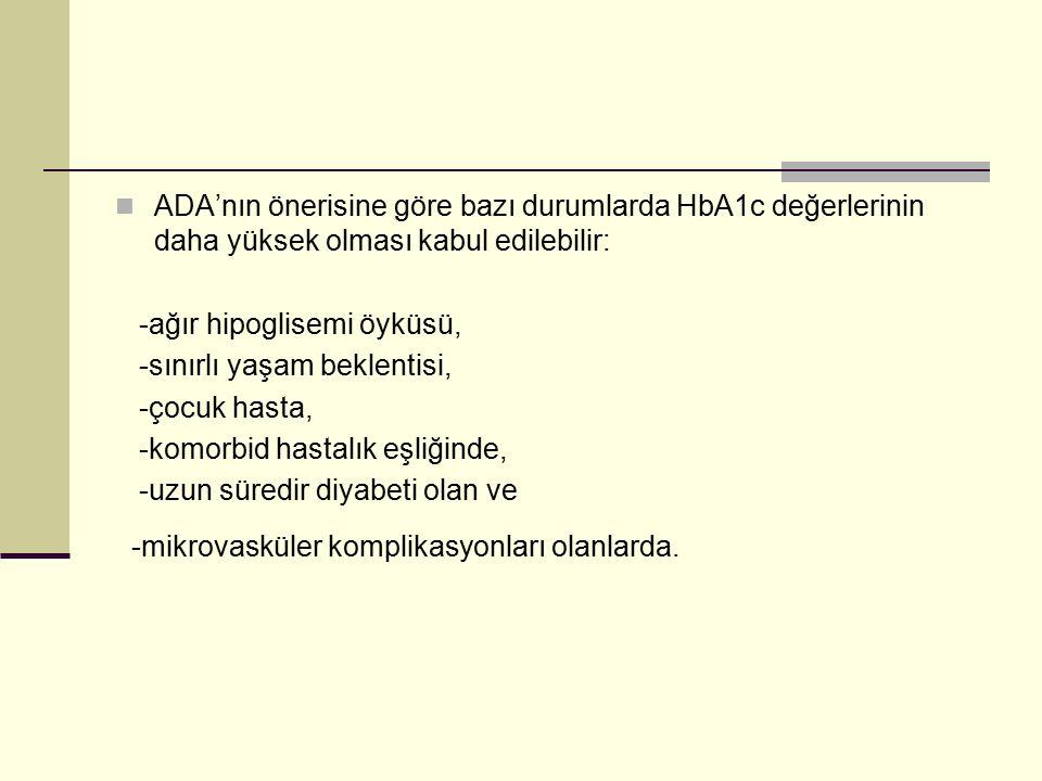 ADA'nın önerisine göre bazı durumlarda HbA1c değerlerinin daha yüksek olması kabul edilebilir: