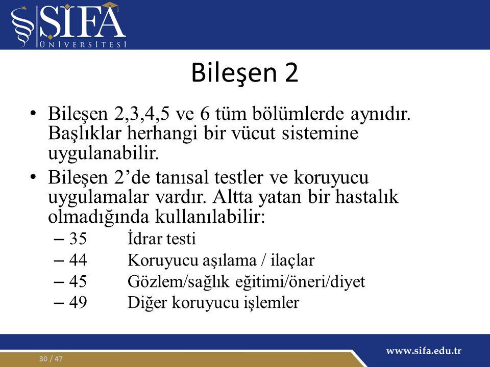 Bileşen 2 Bileşen 2,3,4,5 ve 6 tüm bölümlerde aynıdır. Başlıklar herhangi bir vücut sistemine uygulanabilir.