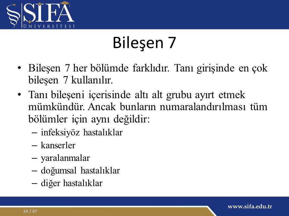 Bileşen 7 Bileşen 7 her bölümde farklıdır. Tanı girişinde en çok bileşen 7 kullanılır.