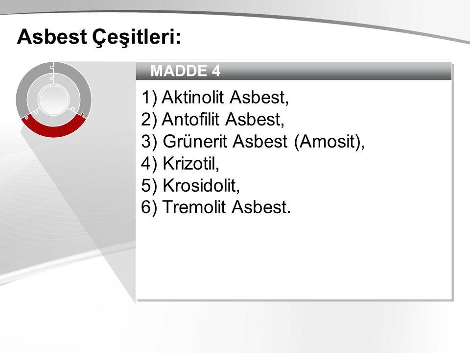 Asbest Çeşitleri: 1) Aktinolit Asbest, 2) Antofilit Asbest,