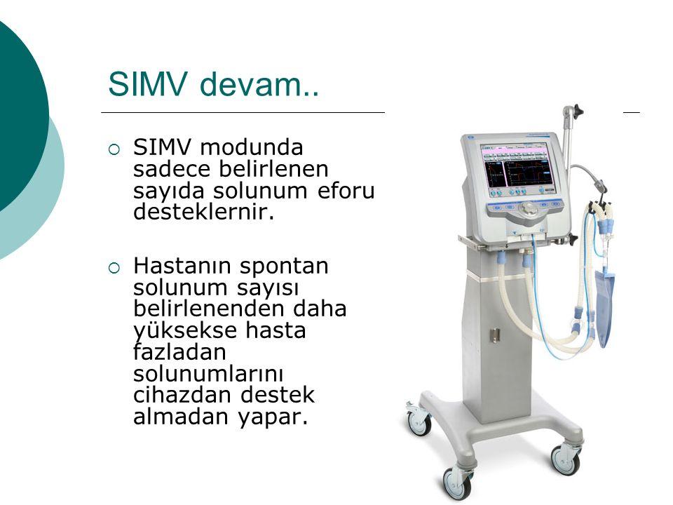 SIMV devam.. SIMV modunda sadece belirlenen sayıda solunum eforu desteklernir.