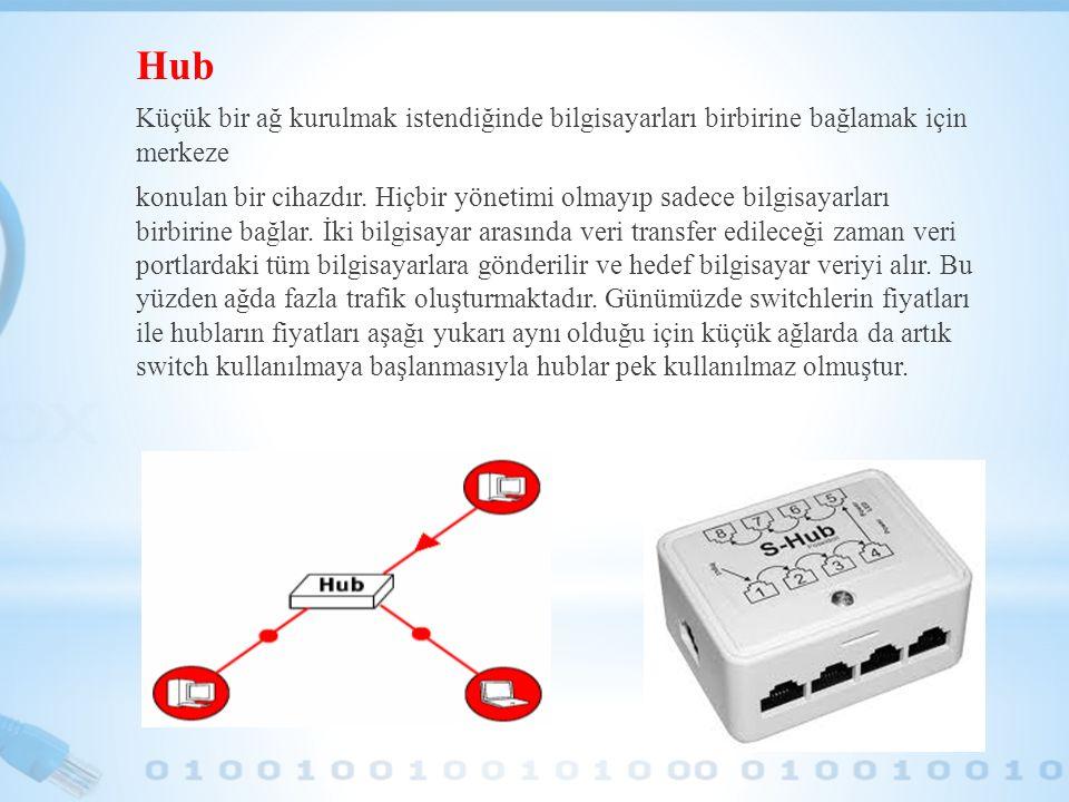Hub Küçük bir ağ kurulmak istendiğinde bilgisayarları birbirine bağlamak için merkeze.
