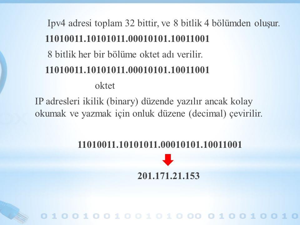 Ipv4 adresi toplam 32 bittir, ve 8 bitlik 4 bölümden oluşur. 11010011