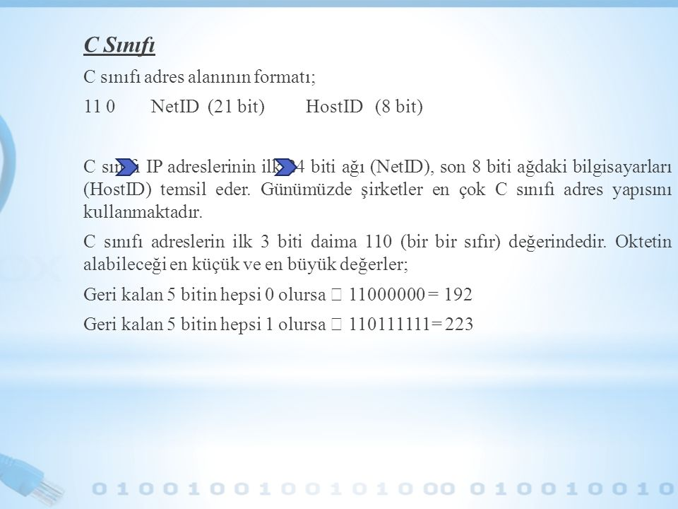 C Sınıfı C sınıfı adres alanının formatı;