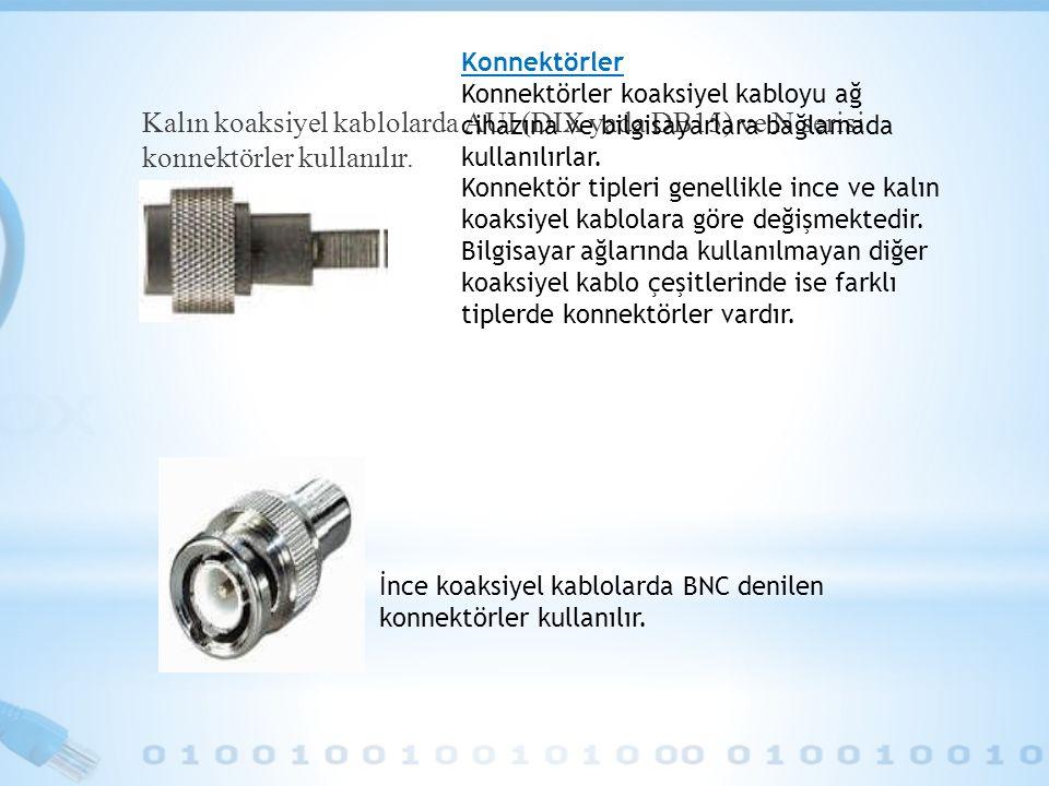 Konnektörler Konnektörler koaksiyel kabloyu ağ cihazına ve bilgisayarlara bağlamada kullanılırlar.
