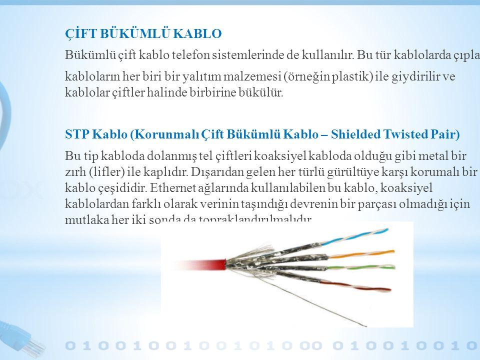 ÇİFT BÜKÜMLÜ KABLO Bükümlü çift kablo telefon sistemlerinde de kullanılır. Bu tür kablolarda çıplak.