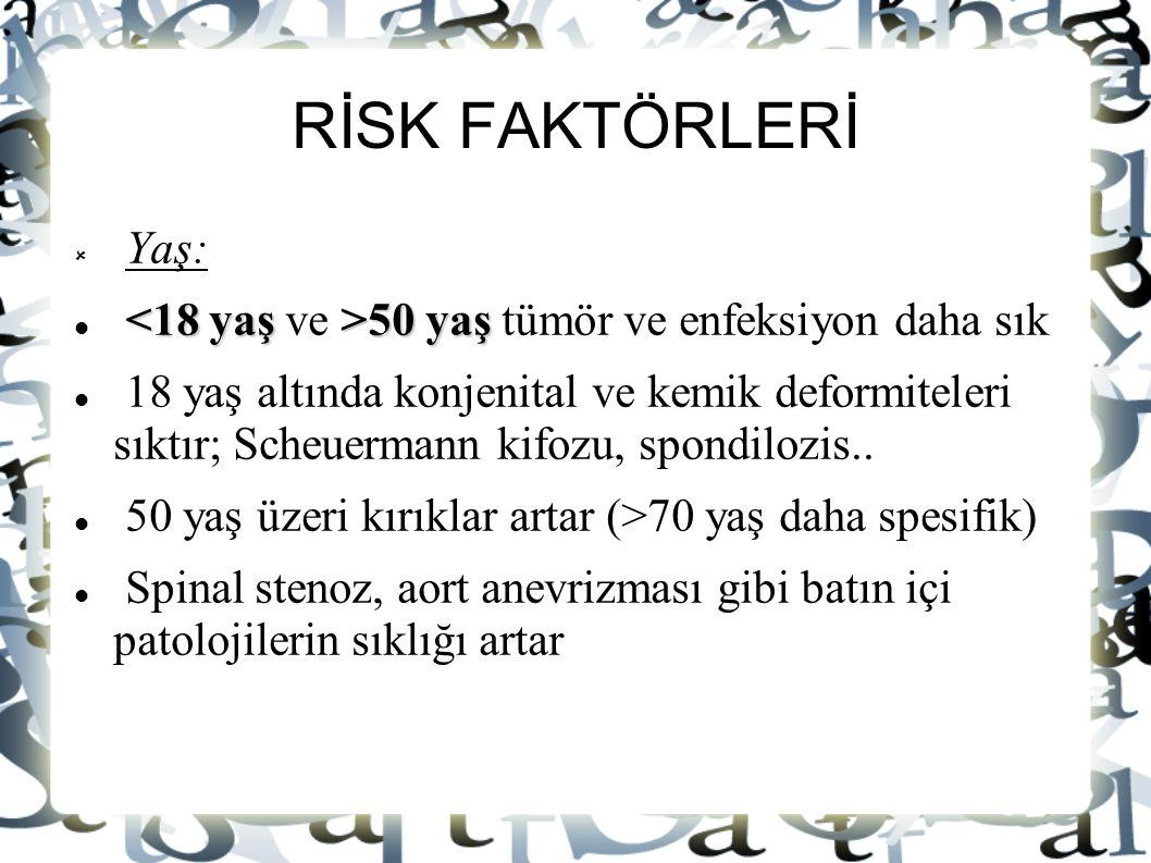 RİSK FAKTÖRLERİ Yaş: <18 yaş ve >50 yaş tümör ve enfeksiyon daha sık.