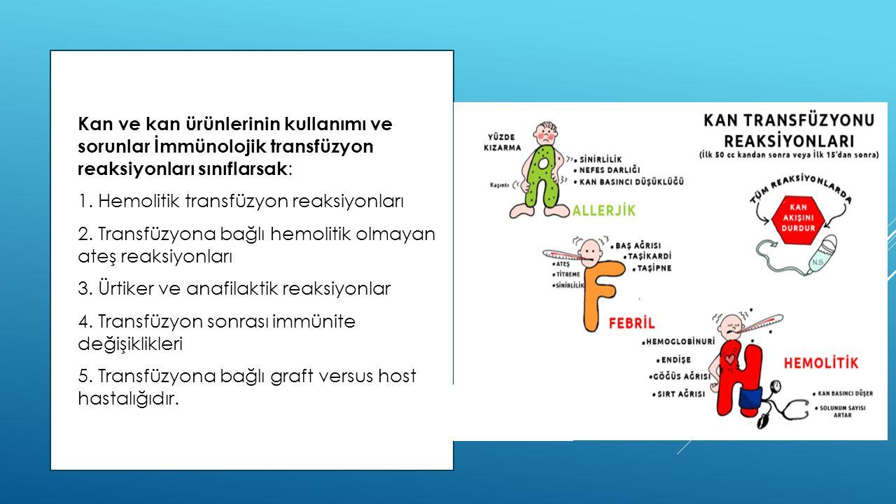Kan ve kan ürünlerinin kullanımı ve sorunlar İmmünolojik transfüzyon reaksiyonları sınıflarsak: