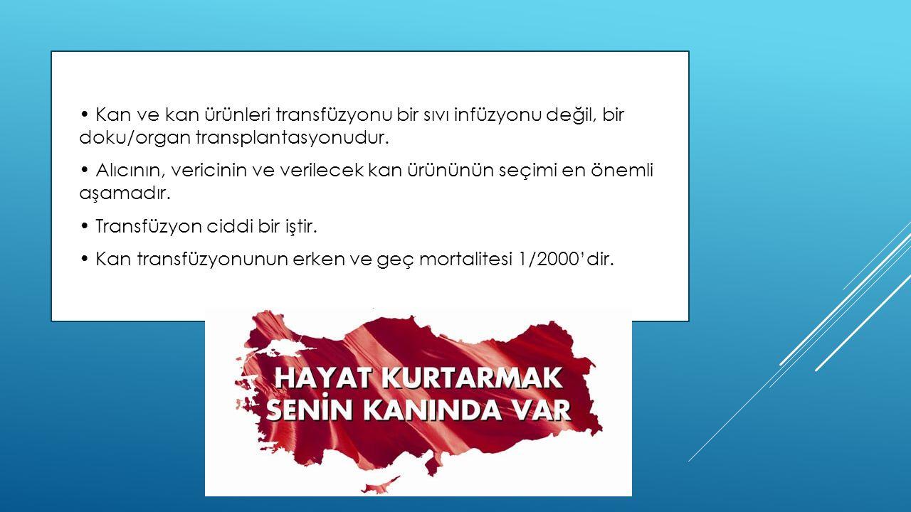 • Kan ve kan ürünleri transfüzyonu bir sıvı infüzyonu değil, bir doku/organ transplantasyonudur.