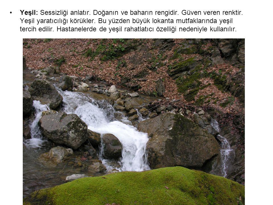 Yeşil: Sessizliği anlatır. Doğanın ve baharın rengidir