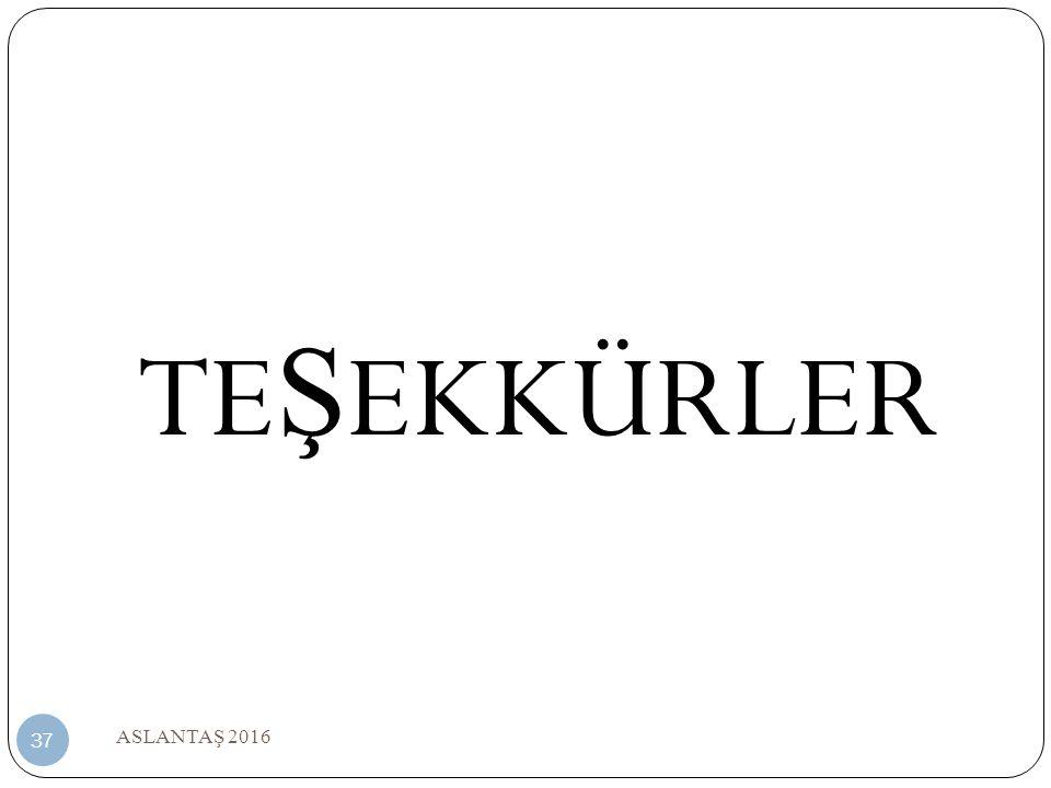 TEŞEKKÜRLER ASLANTAŞ 2016