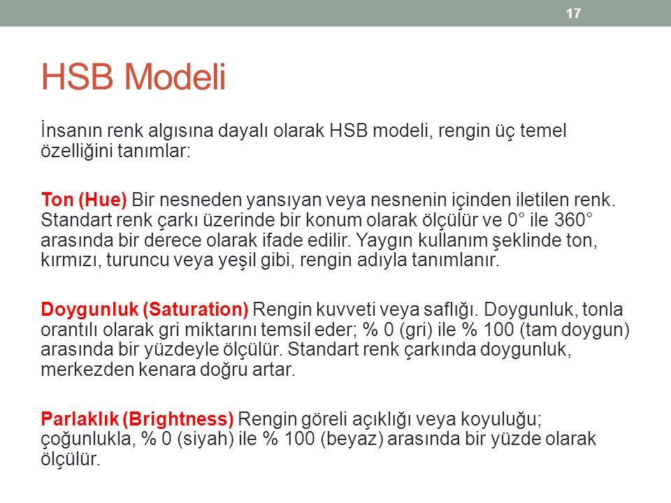 HSB Modeli İnsanın renk algısına dayalı olarak HSB modeli, rengin üç temel özelliğini tanımlar: