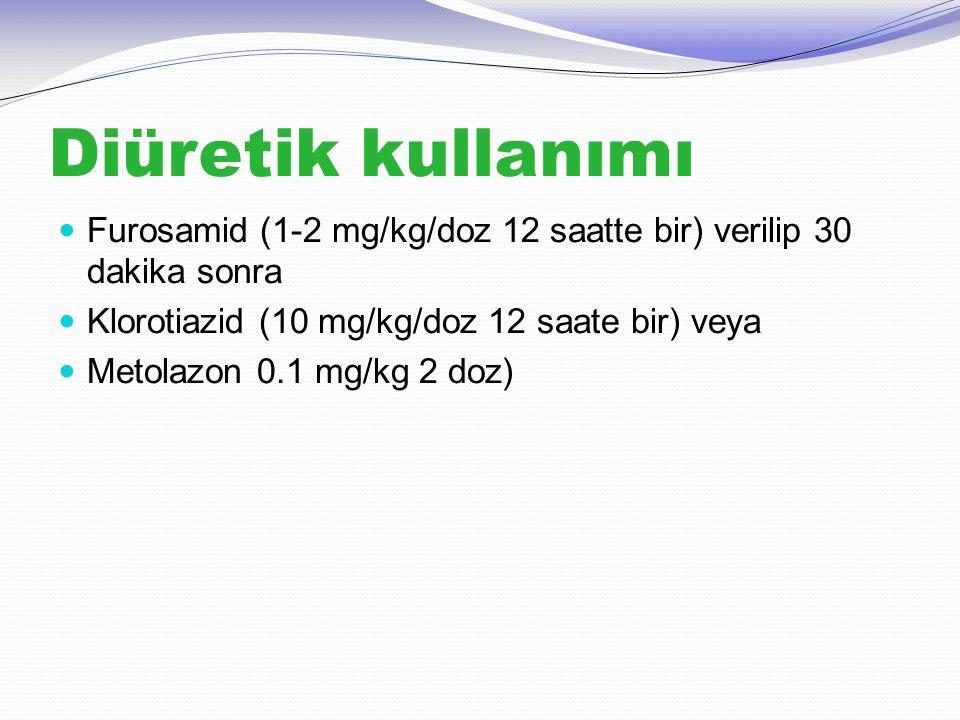 Diüretik kullanımı Furosamid (1-2 mg/kg/doz 12 saatte bir) verilip 30 dakika sonra. Klorotiazid (10 mg/kg/doz 12 saate bir) veya.