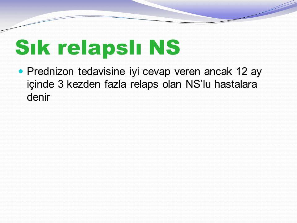 Sık relapslı NS Prednizon tedavisine iyi cevap veren ancak 12 ay içinde 3 kezden fazla relaps olan NS'lu hastalara denir.