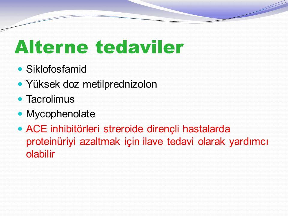 Alterne tedaviler Siklofosfamid Yüksek doz metilprednizolon Tacrolimus