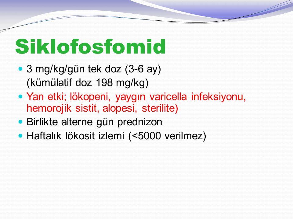 Siklofosfomid 3 mg/kg/gün tek doz (3-6 ay) (kümülatif doz 198 mg/kg)