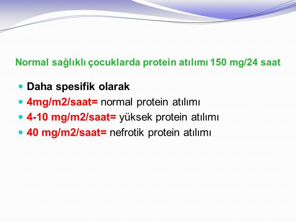 Normal sağlıklı çocuklarda protein atılımı 150 mg/24 saat