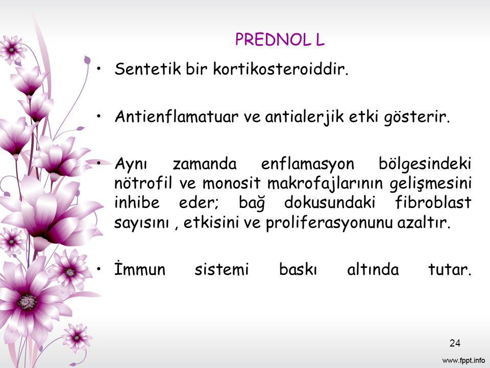 PREDNOL L Sentetik bir kortikosteroiddir. Antienflamatuar ve antialerjik etki gösterir.