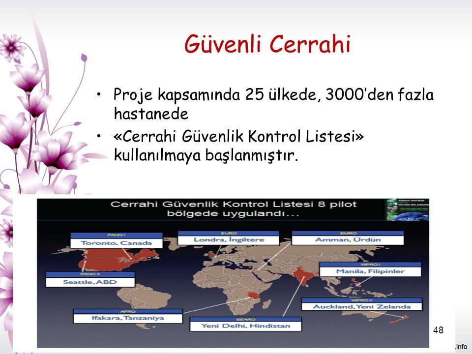 Güvenli Cerrahi Proje kapsamında 25 ülkede, 3000'den fazla hastanede