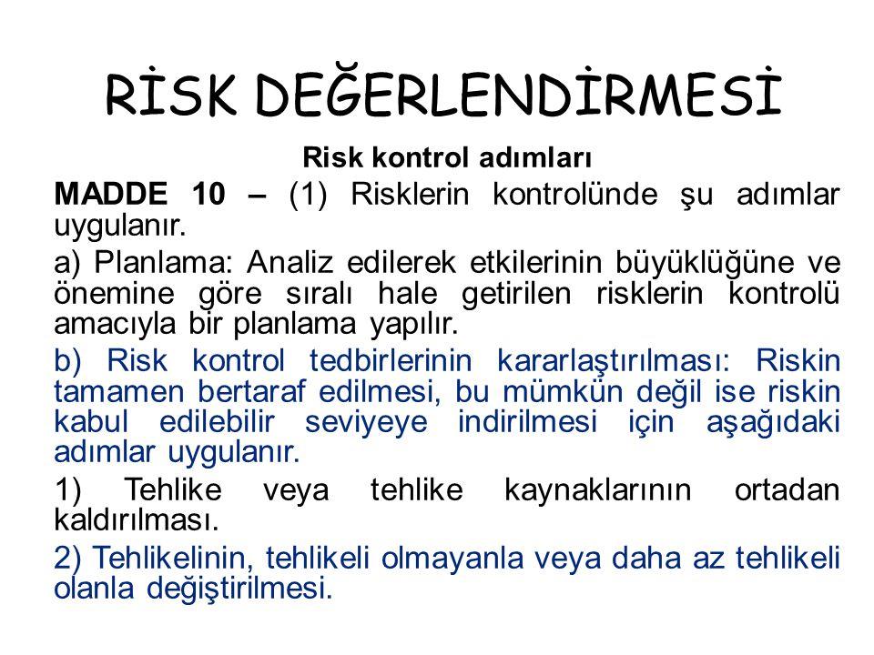 RİSK DEĞERLENDİRMESİ Risk kontrol adımları. MADDE 10 – (1) Risklerin kontrolünde şu adımlar uygulanır.