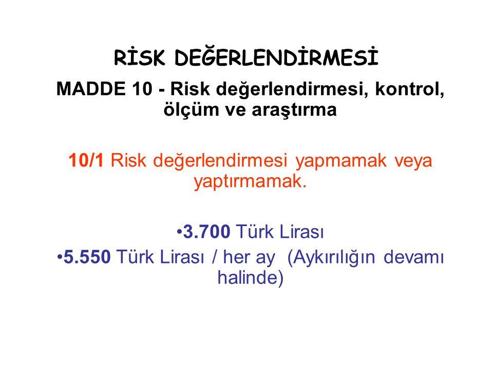 RİSK DEĞERLENDİRMESİ MADDE 10 - Risk değerlendirmesi, kontrol, ölçüm ve araştırma. 10/1 Risk değerlendirmesi yapmamak veya yaptırmamak.