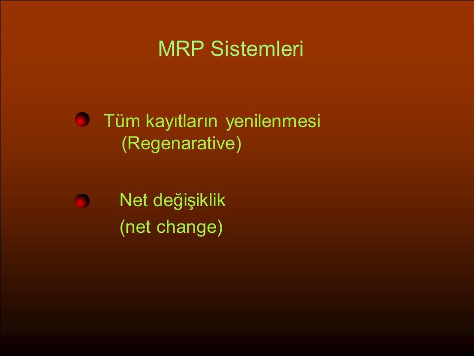 MRP Sistemleri Tüm kayıtların yenilenmesi (Regenarative)