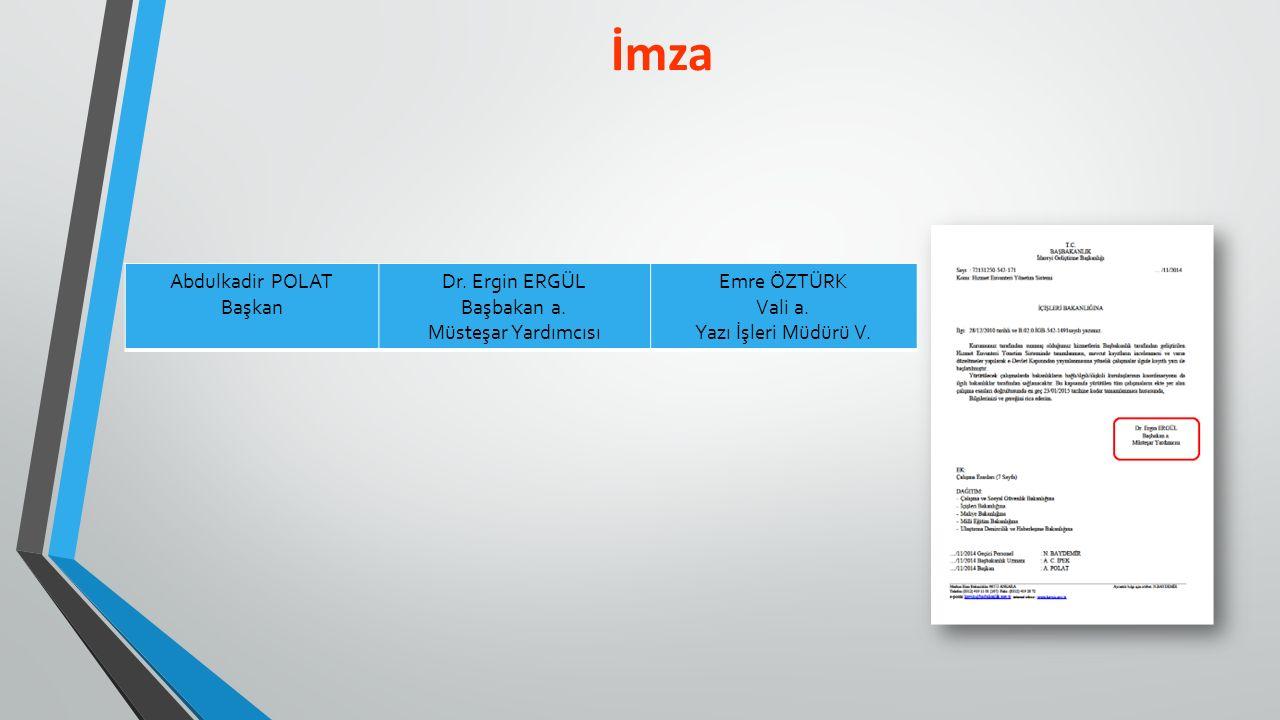 İmza Abdulkadir POLAT Başkan Dr. Ergin ERGÜL Başbakan a.