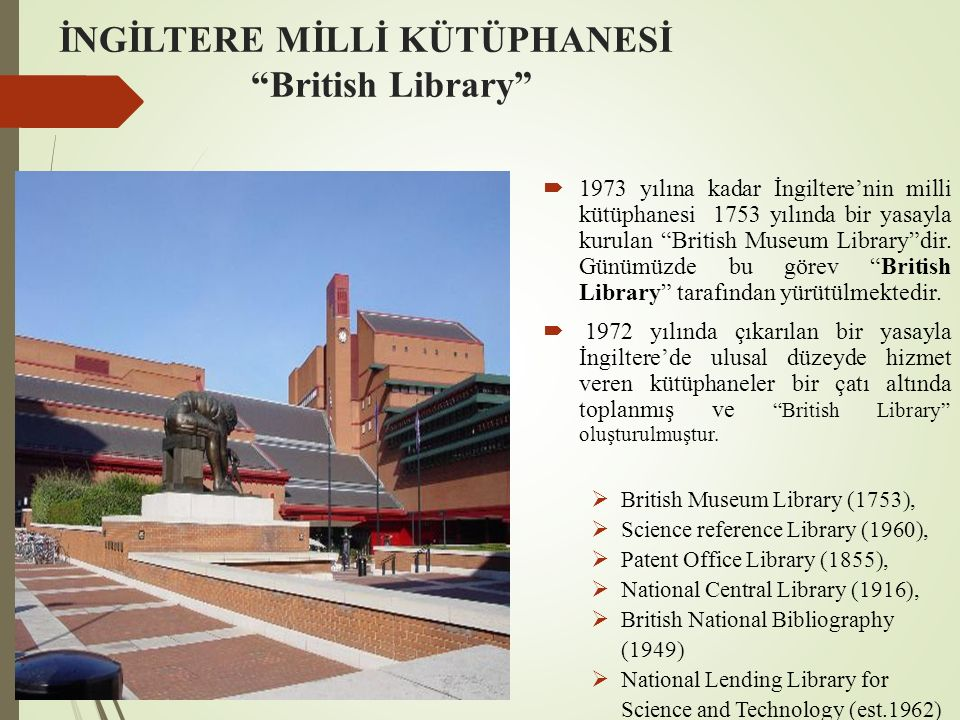 İNGİLTERE MİLLİ KÜTÜPHANESİ British Library