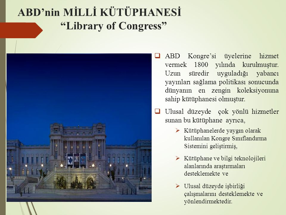 ABD'nin MİLLİ KÜTÜPHANESİ Library of Congress